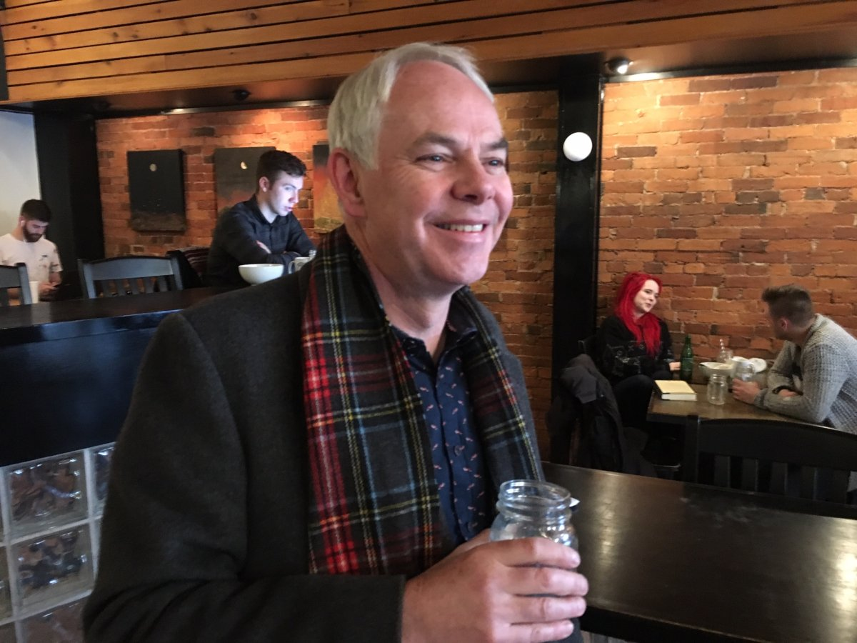 PEI Green Party Leader Peter Bevan-Baker pictured during a stop at a Charlottetown coffee shop.