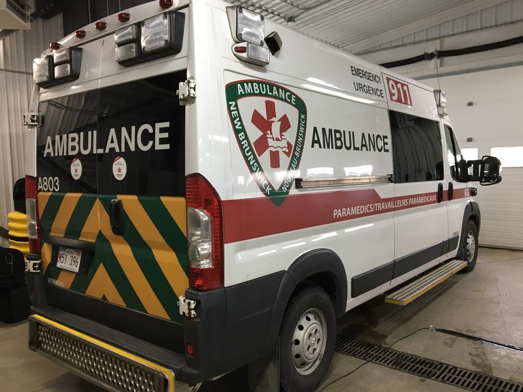 An Ambulance New Brunswick ambulance is shown in Fredericton on Monday, Nov. 19, 2018. THE CANADIAN PRESS/Kevin Bissett.