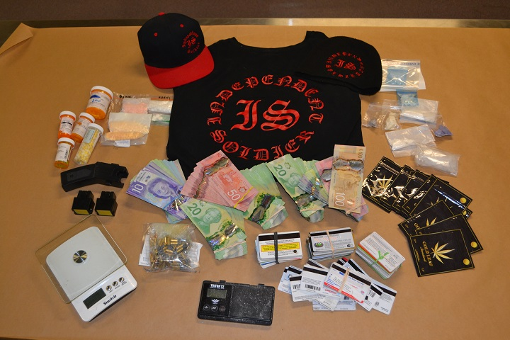 Police say a search warrant in Kelowna on Wednesday, December 19th, 2018, uncovered a 'drug conduit,' and that several types of drugs were seized.