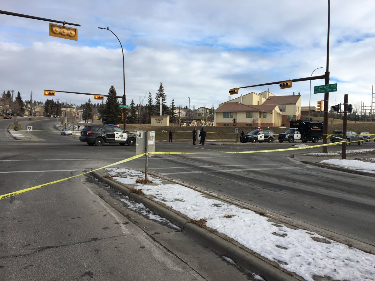 Calgary police investigate a collision in the city's northwest on Dec. 24, 2018.