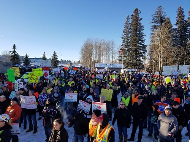 A pro-pipeline rally in Rocky Mountain House, Alta. on Saturday, December 29, 2018.