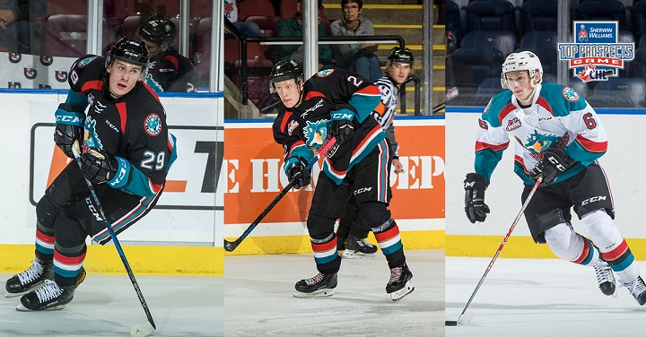 A trio of Kelowna Rockets – Nolan Foote, left, Lassi Thomson and Kaedan Korczak are ranked among the top North American Skaters heading into the NHL Entry Draft.