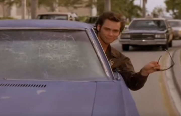 A scene from the 1994 movie Ace Ventura: Pet Detective, starring Canadian actor Jim Carrey.