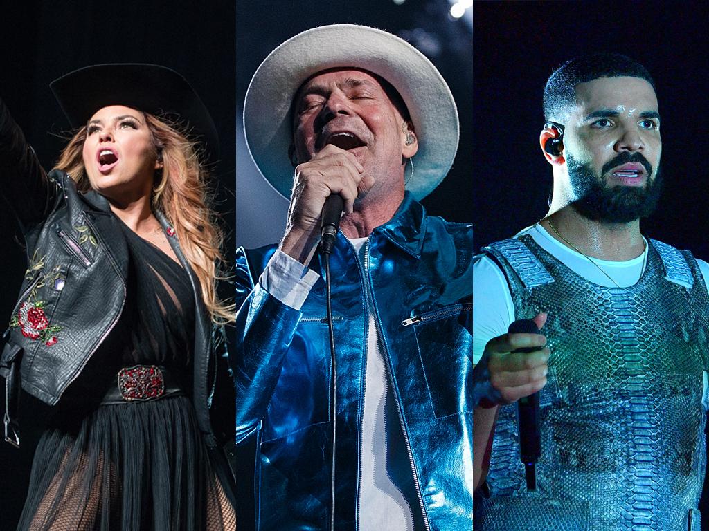 (L-R) Shania Twain, Gord Downie and Drake.
