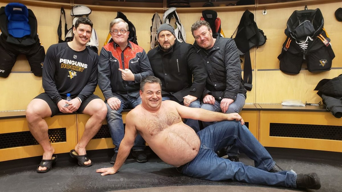 Sidney Crosby and the Trailer Park Boys in the Pittsburgh Penguins locker room following Tuesday night's game.