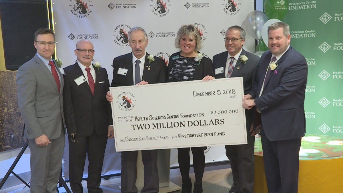 The Firefighters' Burn Fund presented a $2 million donation to the Health Sciences Centre Foundation Wednesday.