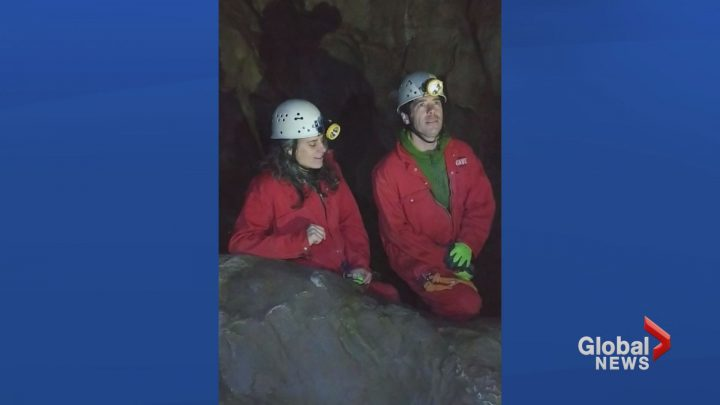"""Ellen Braun and Joe Shea, who are part of a musicial duo """"Trundled"""" are seen in this undated handout photo doing a sound check. Ellen Braun and Joe Shea, who are part of a musicial duo called Trundled, will sing in a cave under Grotto Mountain near Canmore, Alberta, in December."""