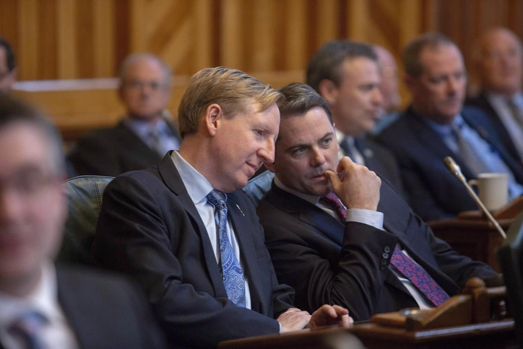 Dominic Cardy was part of a heated exchanged in Saint John with People's Party of Canada leader Maxime Bernier on Friday. He is pictured here with former MLA Jake Stewart.