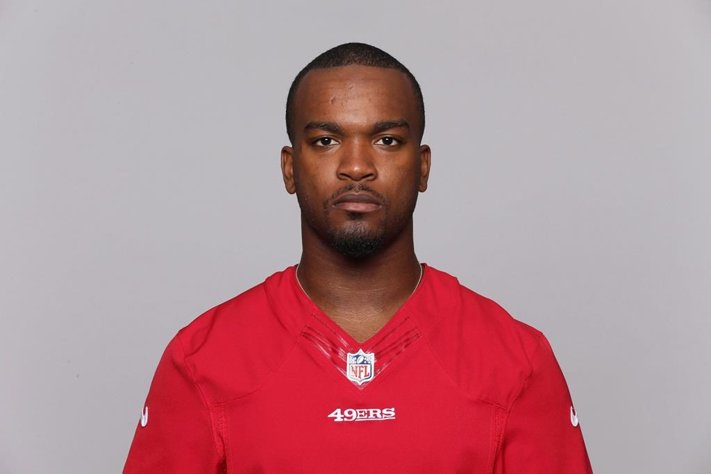 This is a 2015 photo of Mylan Hicks of the San Francisco 49ers NFL football team. A patron at the bar the night that Calgary Stampeder's player Mylan Hicks was killed two years ago says the accused in the murder was aggressive and obnoxious prior to the fatal shooting.