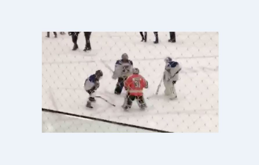 Florence Eaton captured these Atom B hockey players having a dance-off at centre ice.