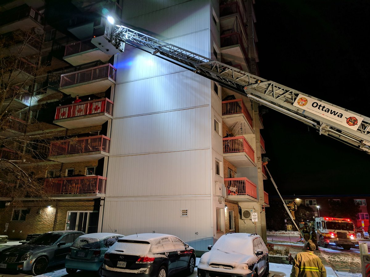 Ottawa firefighters had to rescue several residents from their balconies after a three-alarm fire broke out in an apartment high-rise east of the downtown core earlier this morning.