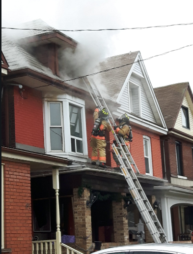 The Hamilton Fire department has been busy, battling a blaze at a two-and-a-half-storey detached home on Stirton Street.
