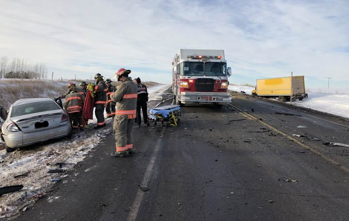 RCMP closed Highway 5 east of Saskatoon after a collision between a car and a transport truck left one dead.