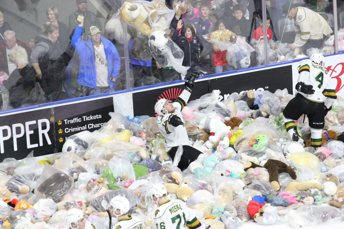 London, Ont. - The London Knights collected 8763 teddy bears and their 14th consecutive win at Budweiser Gardens on Sunday, December 2, 2018.