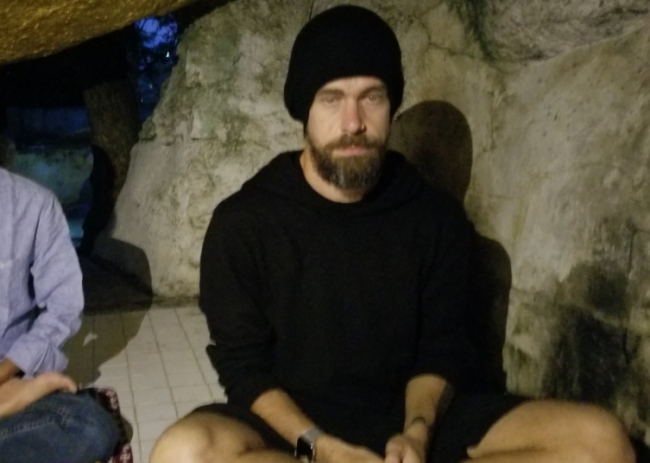 Twitter CEO Jack Dorsey shared this photo of himself meditating in a cave in Mandalay in northern Myanmar.