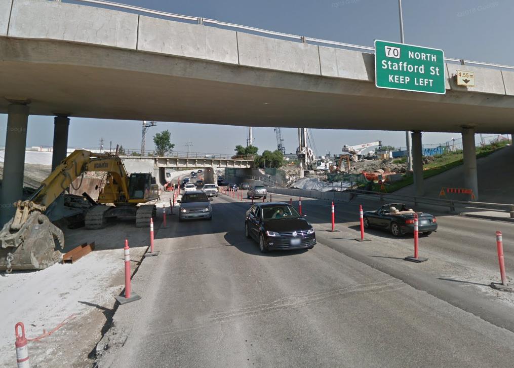 The Jubilee underpass under construction in Winnipeg.