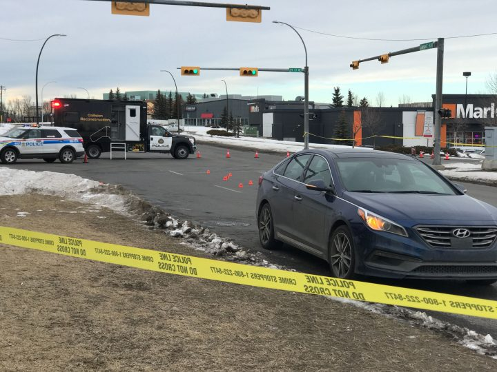 EMS said a pedestrian was injured after being struck by a vehicle in northeast Calgary on Saturday morning.