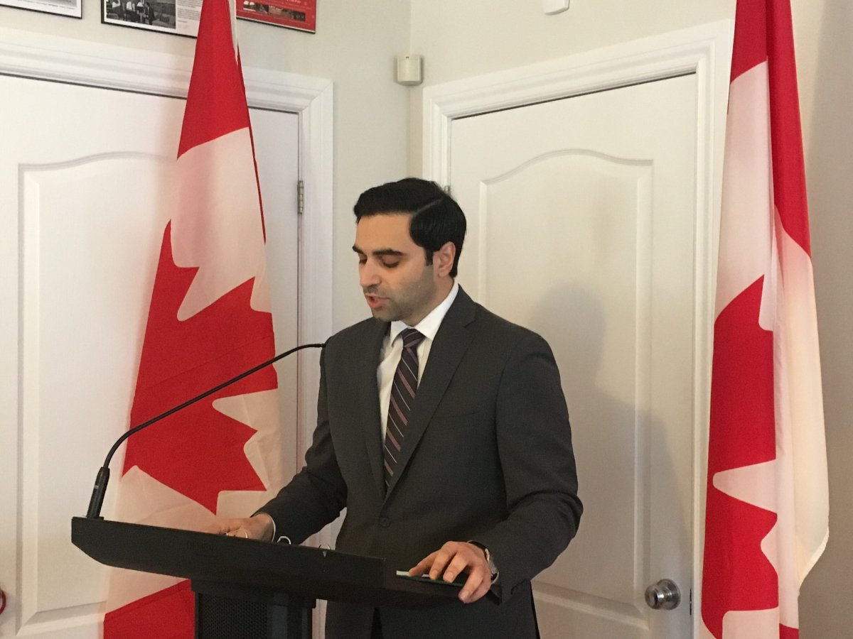 London North Centre Liberal MP Peter Fragiskatos addresses members of the media at his constituency office on Adelaide Street North in London on Tuesday, Dec. 18, 2018.