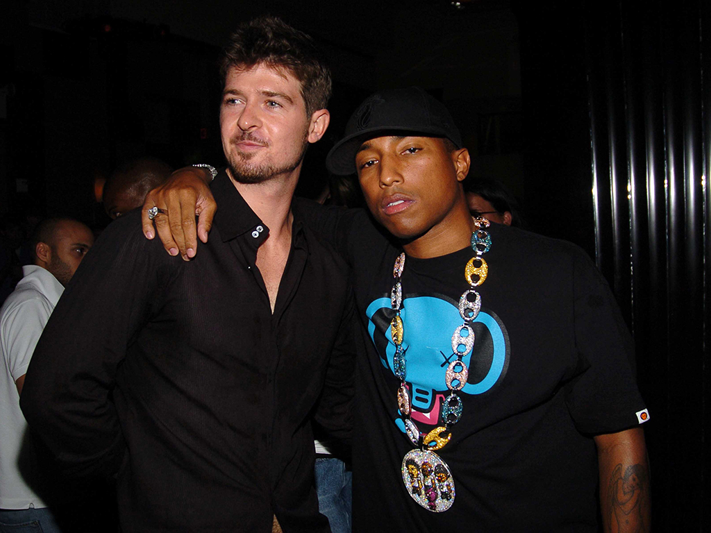 (L-R) Robin Thicke and Pharrell Williams at Cipriani Fifth Ave on Aug. 4, 2005, in New York City.
