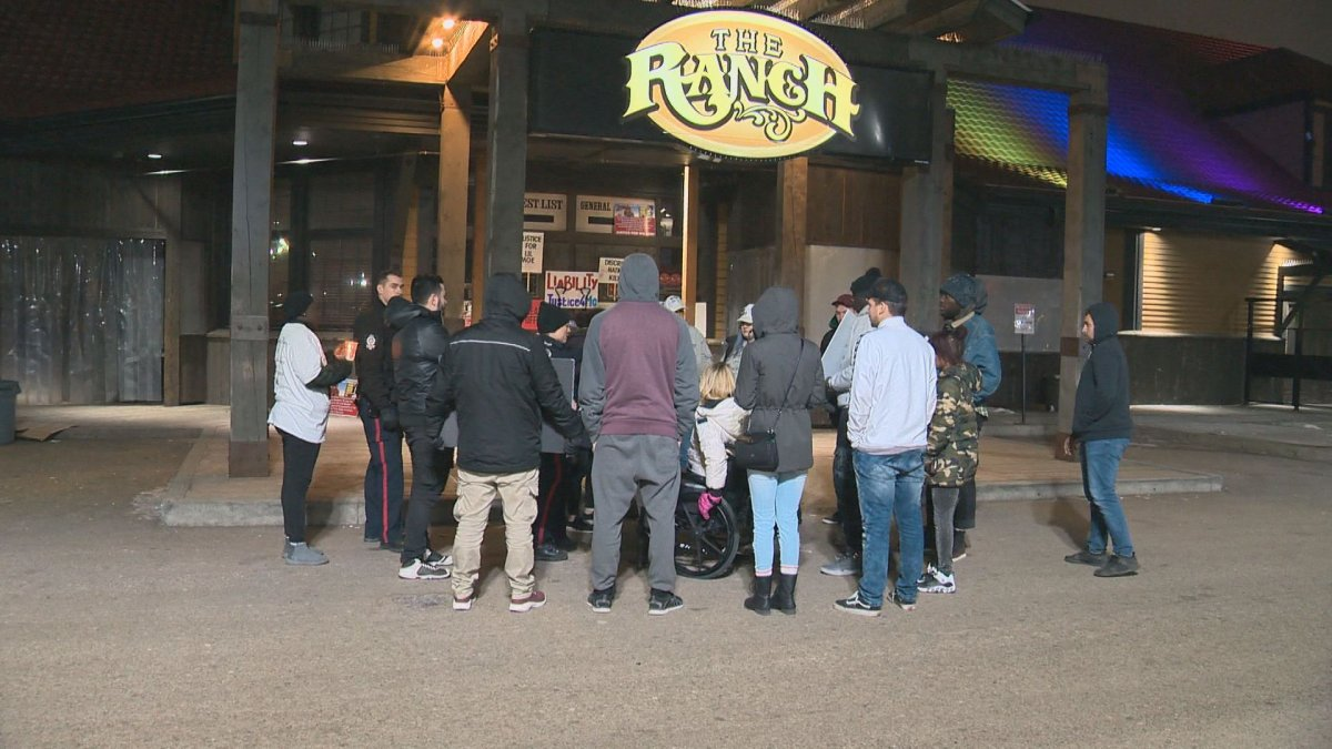 A protest is held at the Ranch Roadhouse in south Edmonton.  November 2018.