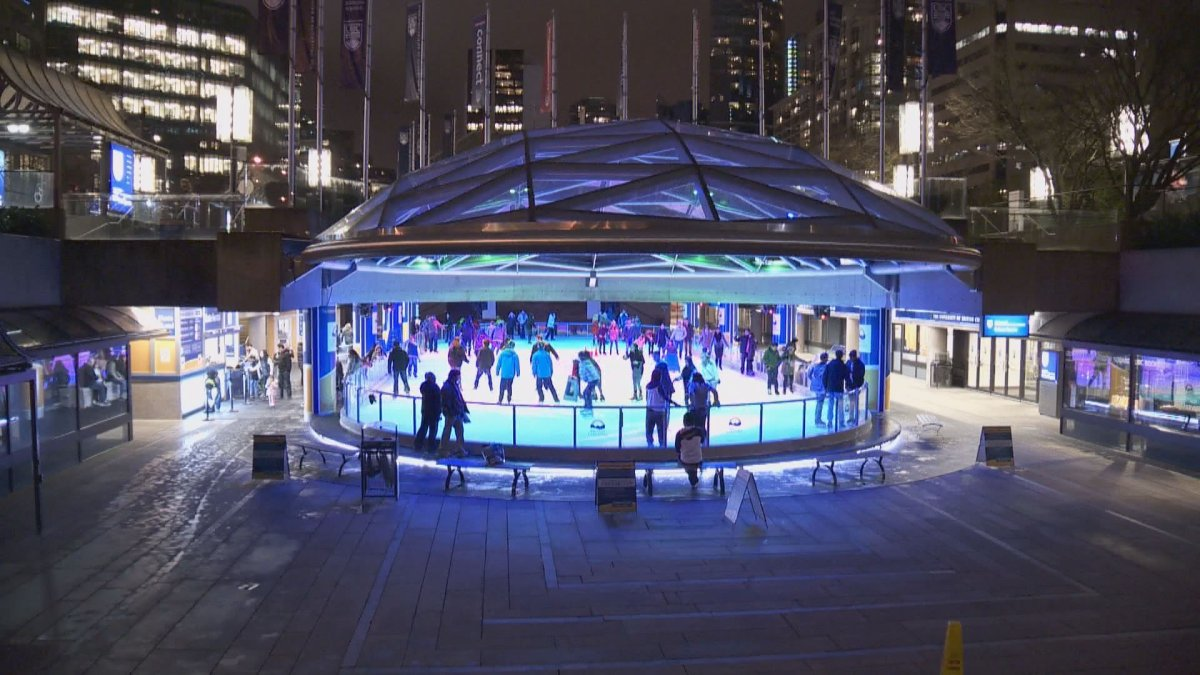 Skating is free at Vancouver's Robson Square ice rink.