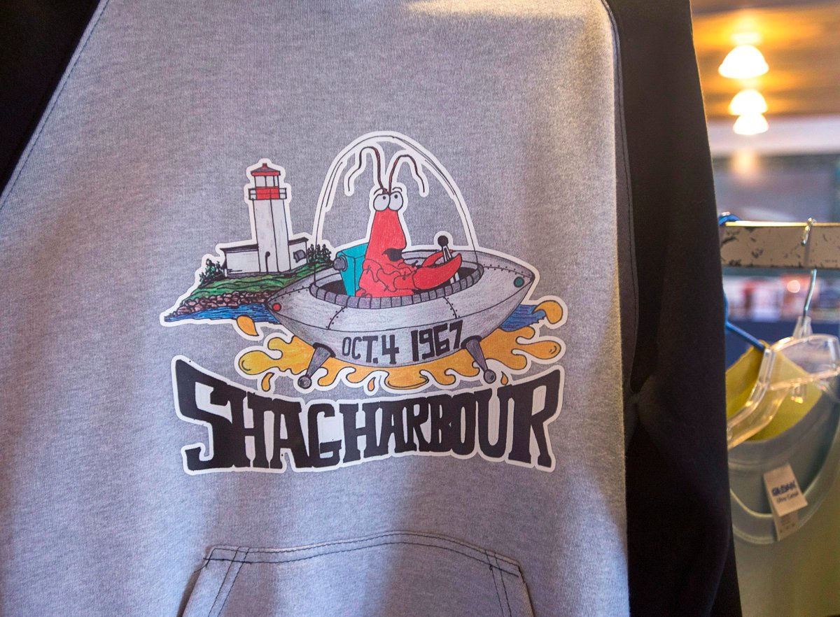A souvenir hoodie is displayed at the Shag Harbour Incident Interpretive Centre in Shag Harbour, N.S.