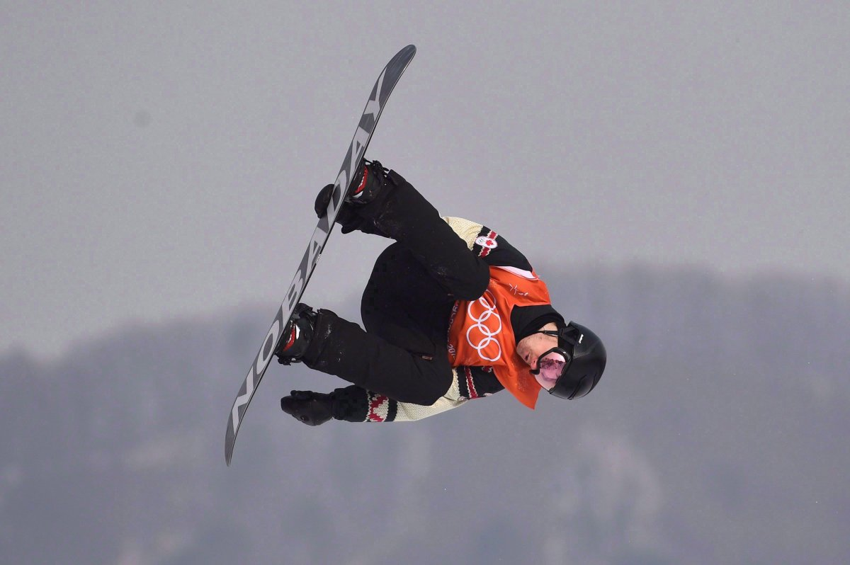 Canada's Max Parrot of Bromont, Que. flies through the air during his second run in the men's snowboard slopestyle qualification at the Phoenix Snow Park at the 2018 Winter Olympic Games in Pyeongchang, South Korea, Saturday, Feb. 10, 2018.