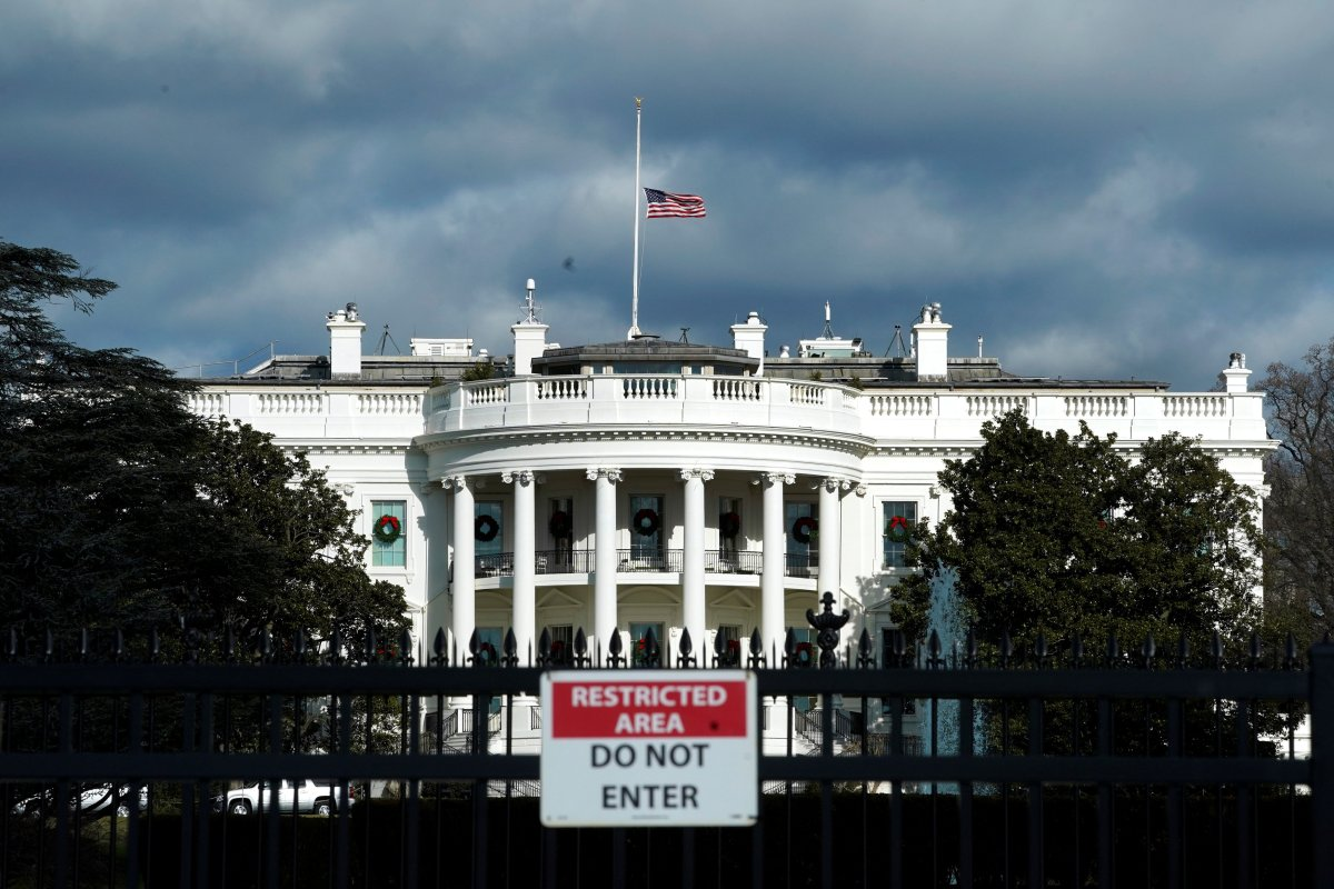 The White House is seen on the first day of a partial federal government shutdown in Washington, D.C., on Dec. 22, 2018.