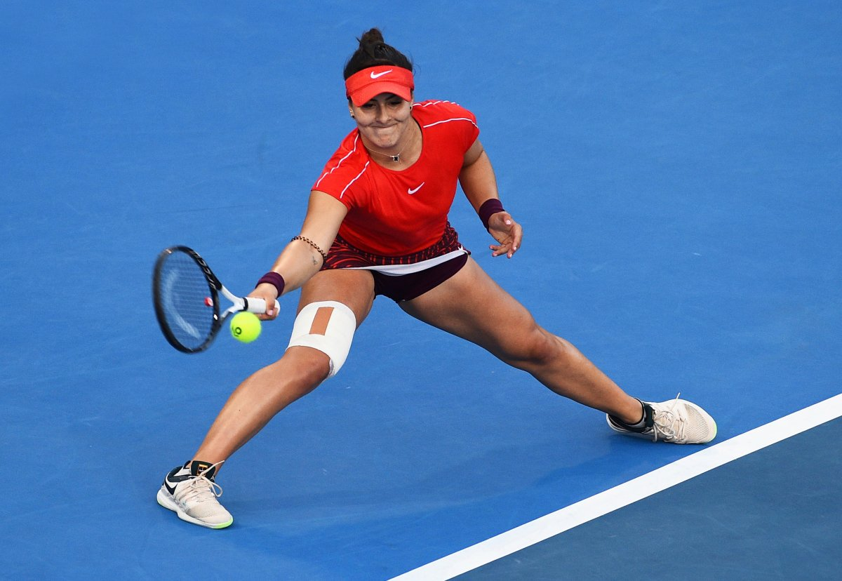 Bianca Andreescu of Canada against Germany's Julia Goerges during the singles final of the ASB Classic tennis tournament in Auckland, New Zealand, Sunday, Jan. 6, 2019.