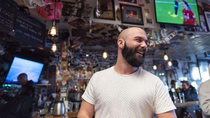 Logan Richards is a regular of Leopold's Tavern in Regina, Saskatchewan on Thursday January 3, 2019. The Regina-founded bar chain emphasizes neighbourhood charm and a warm atmosphere.