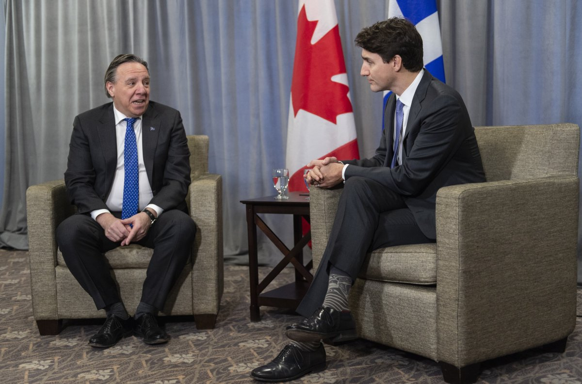 Prime Minister Justin Trudeau meets with Quebec Premier François Legault in Sherbrooke, Que. on Thursday, January 17, 2019.