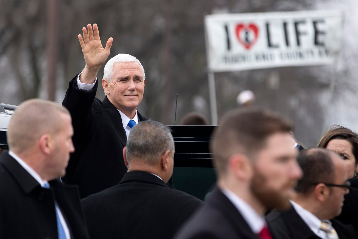 U.S. Vice President Mike Pence arrives to speak at the anti-abortion March for Life rally on the National Mall in Washington, DC, USA, 18 January 2019.
