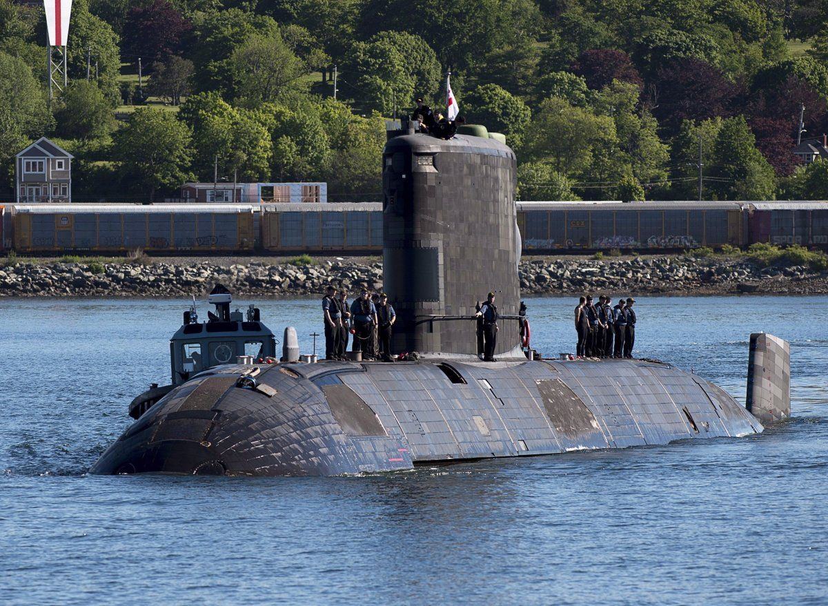 HMCS Windsor, one of Canada's Victoria-class long range patrol submarines, returns to port in Halifax on June 20, 2018.