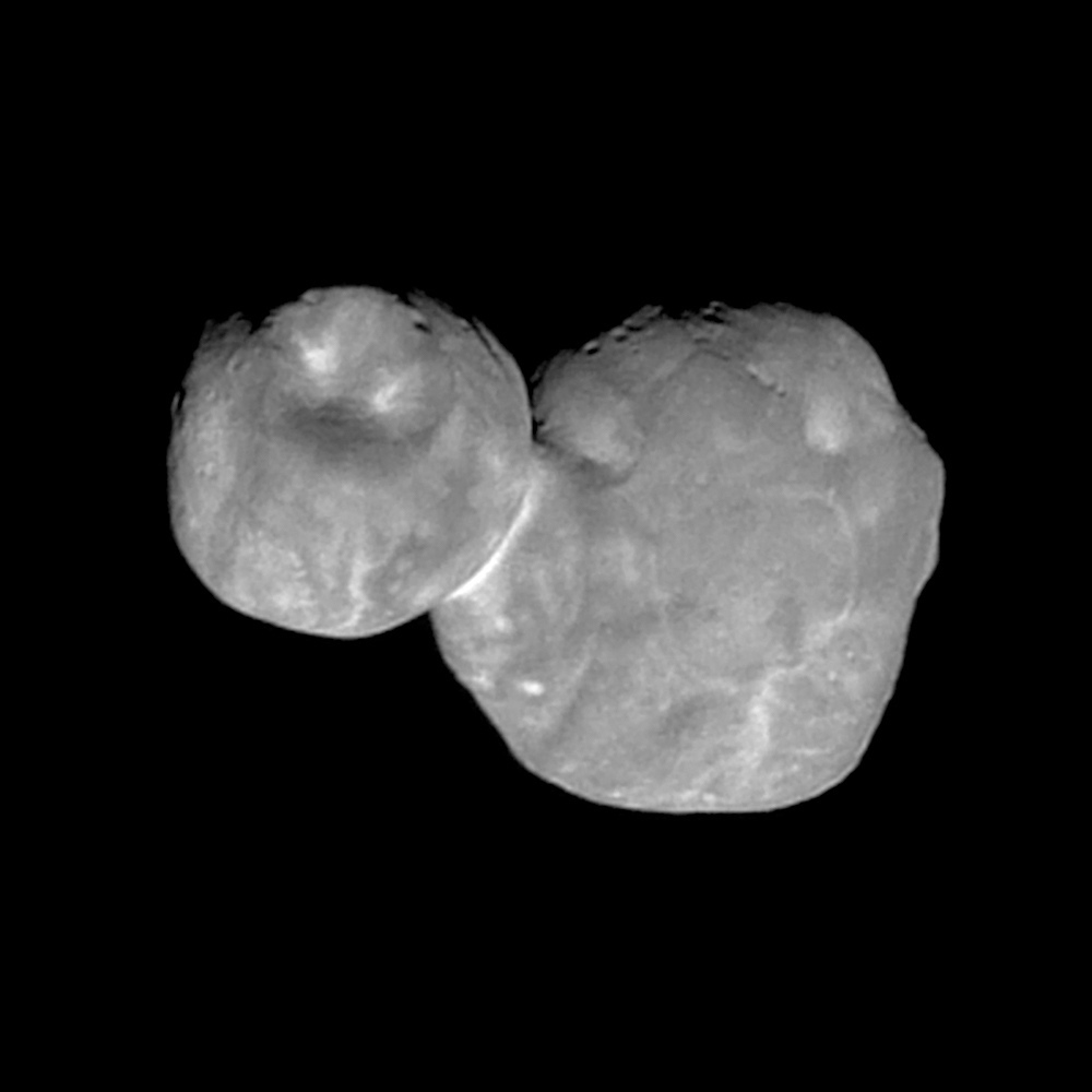 This Tuesday, Jan. 1, 2019 image made available by NASA on Thursday, Jan. 24 shows the Kuiper belt object Ultima Thule, encountered by the New Horizons spacecraft.