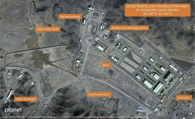 A suspected Saudi ballistic missile base and test facility is seen outside the town of al-Dawadmi, Saudi Arabia in this Nov. 13, 2018 satellite image.
