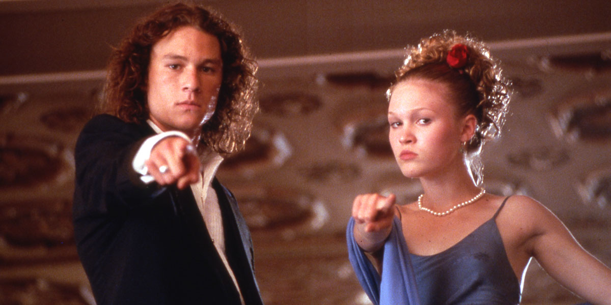 """Julia Stiles and the late Heath Ledger in 1999's """"10 Things I Hate About You.""""."""