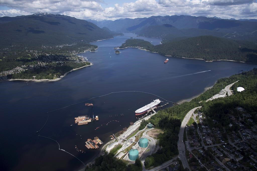 """A aerial view of Kinder Morgan's Trans Mountain marine terminal, in Burnaby, B.C., is shown on Tuesday, May 29, 2018. Canada's Parliamentary budget watchdog says government paid """"sticker price"""" for the Trans Mountain pipeline project when it purchased the pipeline from Kinder Morgan for $4.5 billion."""