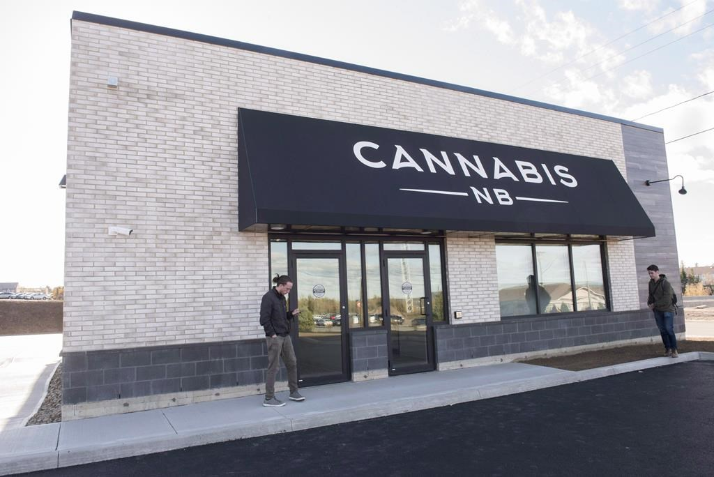 The exterior of a Cannabis NB retail store is shown in Fredericton, N.B., on Tuesday October 16, 2018.