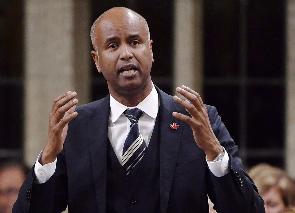 Minister of Immigration, Refugees and Citizenship Ahmed Hussen rises during question period in the House of Commons on Parliament Hill in Ottawa on Tuesday, Sept. 18, 2018. THE CANADIAN PRESS/Adrian Wyld.