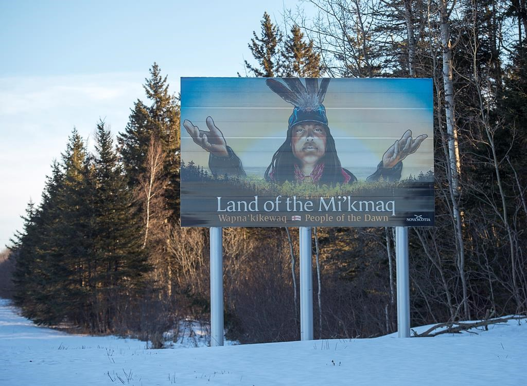 A billboard-size highway sign that highlights the province's rich Mi'kmaq heritage stands along the Trans-Canada Highway near Amherst, N.S. on Monday, Jan. 14, 2019.