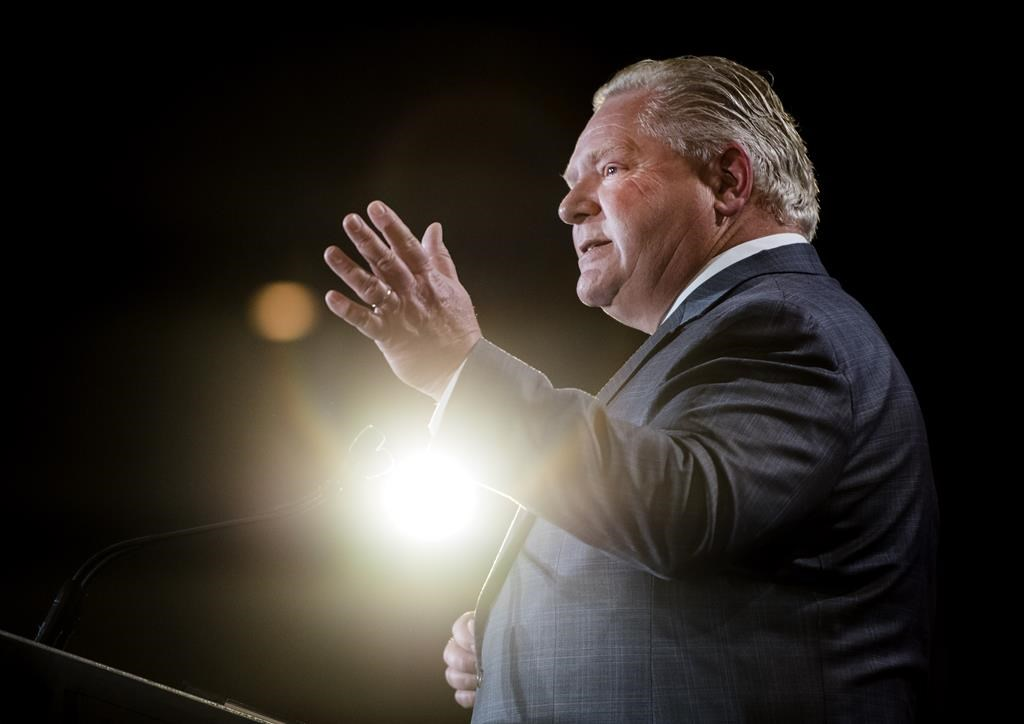 Ontario Premier Doug Ford speaks at the Economic Club of Canada in Toronto last month. Global News has learned that the province is considering a plan that would see the number of regional school boards slashed.