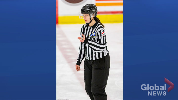 Referee Cassandra Gregory works the Mac's midget triple-A tournament in Calgary in a Dec.31, 2018 photo. Gregory's talent as a hockey linesman was recognized when she was assigned to work the men's final at the prestigious annual midget triple-A tournament.
