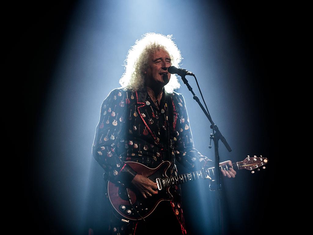 Brian May of Queen + Adam Lambert performing live Mediolanum Forum in Assago Milan Italy on June 25, 2018.