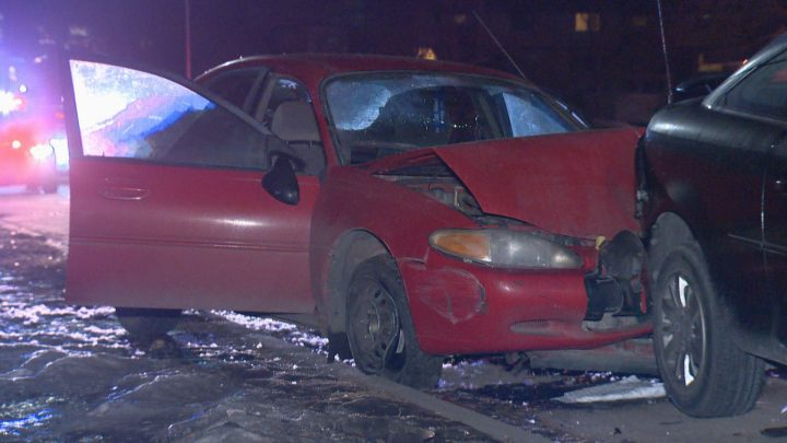 Calgary police were dispatched to Grier Avenue N.E. and 4 Street N.E. on Monday after a single-vehicle crash.