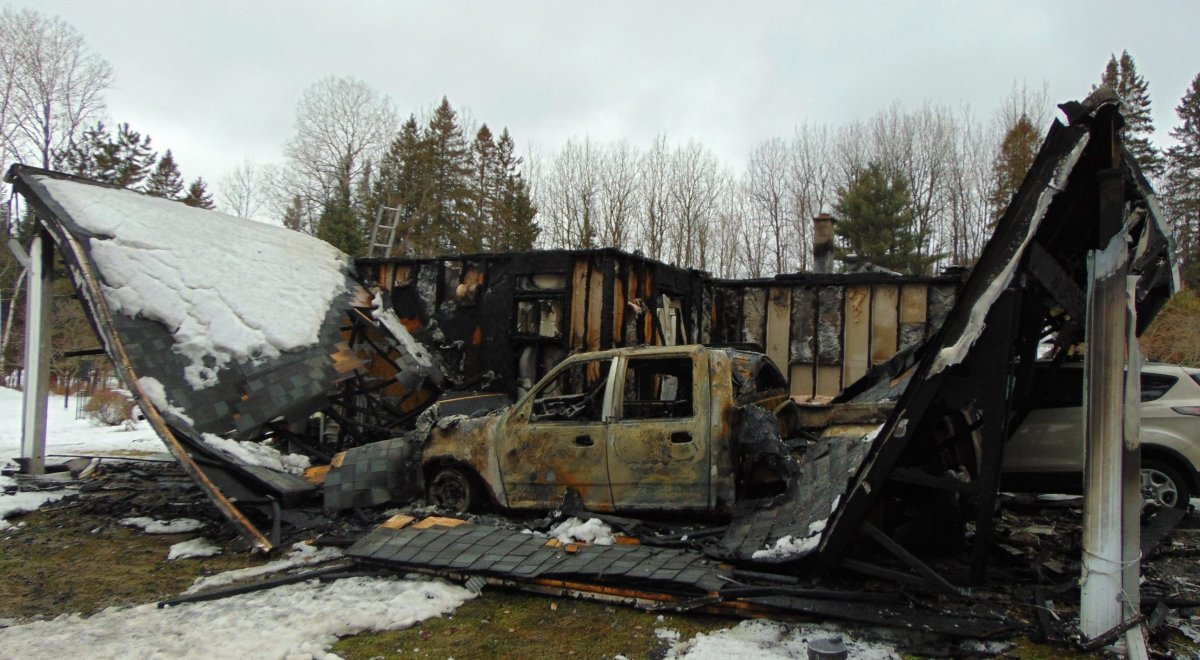 Fire destroyed a house on Wigamog Road just south of Haliburton on Tuesday morning.