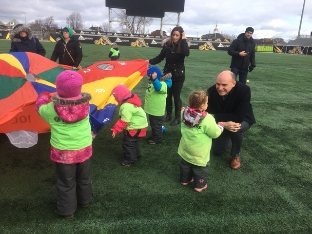 Jean-Yves Duclos, Canada's Minister of Families, Children and Social Development, was at Tim Horton's Field on Wednesday morning to promote his government's creation of new child care spaces.