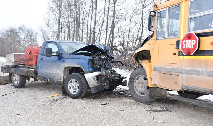 Blackfalds RCMP are looking for information after a stolen truck was involved in a school bus collision on Jan. 22, 2019.