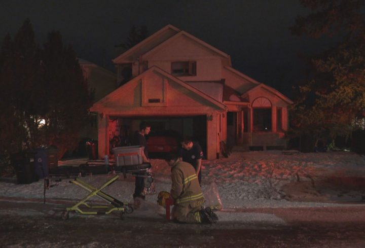 Calgary crews were called to a house fire in the 100 block of Riverside Close S.E. at 9 p.m. on Friday.