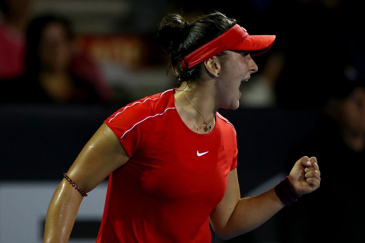 Bianca Andreescu of Canada celebrates after winning a game during her round of 16 match against Caroline Wozniacki of Denmark at the ASB Classic on January 03, 2019 in Auckland, New Zealand.