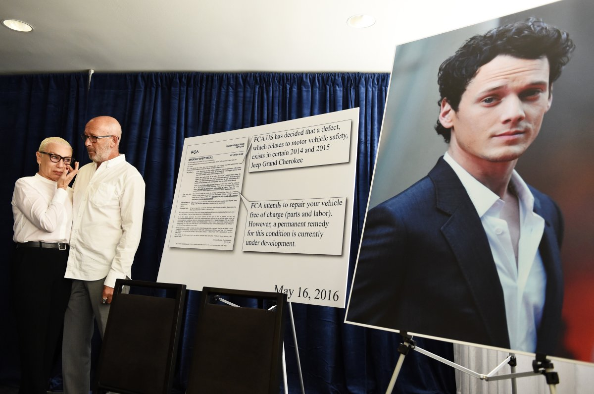 Actor Anton Yelchin's parents Irina Yelchin (L) and Viktor Yelchin hold a press conference regarding the accidental death of their son on Aug. 2, 2016, in Beverly Hills, Calif.